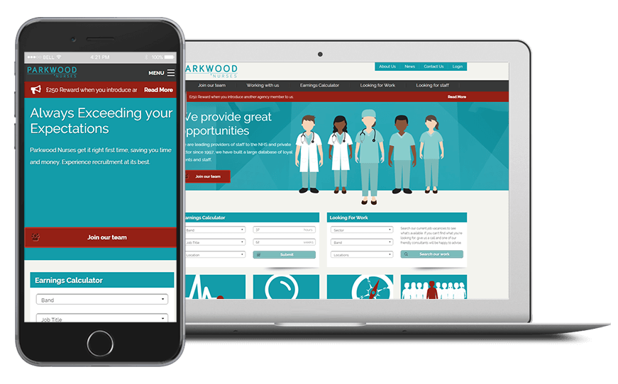 Smartphone and laptop displaying Recruitment Management & Assessment Software, bespoke software by ioSTUDIOS