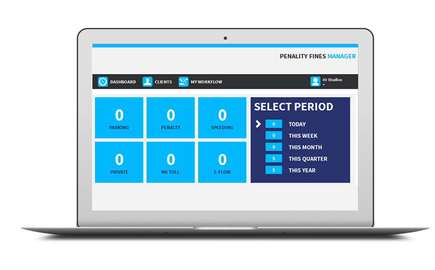 Smartphone and laptop displaying Fines Management Software, bespoke software by ioSTUDIOS