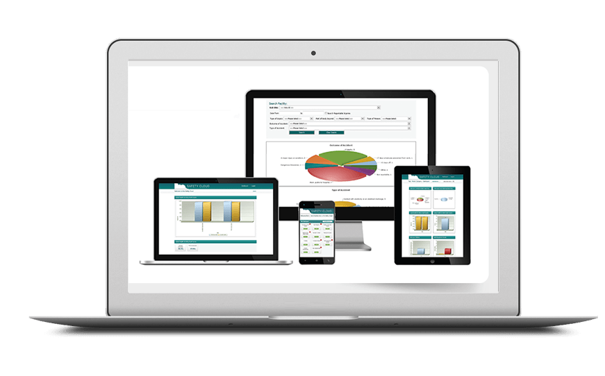 Smartphone and laptop displaying Health & Safety Software, bespoke software by ioSTUDIOS