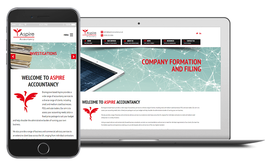 Smartphone and laptop displaying Aspire Accountancy Website, bespoke software by ioSTUDIOS