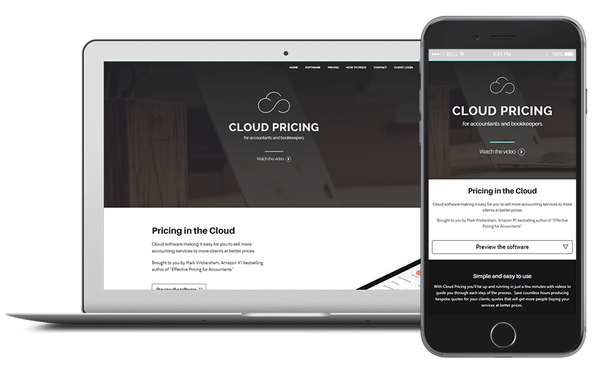 Smartphone and laptop displaying Cloud Pricing, bespoke software by ioSTUDIOS