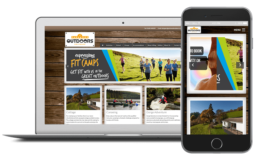 Smartphone and laptop displaying Parkwood Outdoors Website, bespoke software by ioSTUDIOS