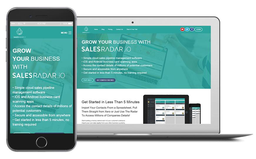 Smartphone and laptop displaying Sales Pipeline Management - SalesRadar.io, bespoke software by ioSTUDIOS