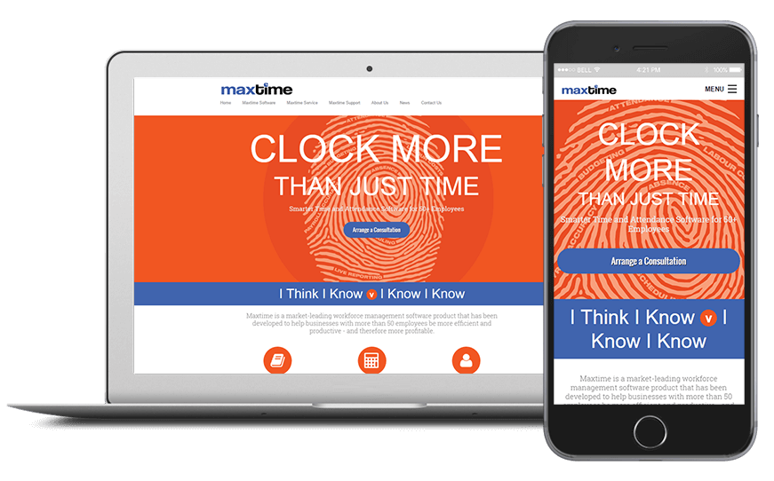 Smartphone and laptop displaying Maxtime Website, bespoke software by ioSTUDIOS