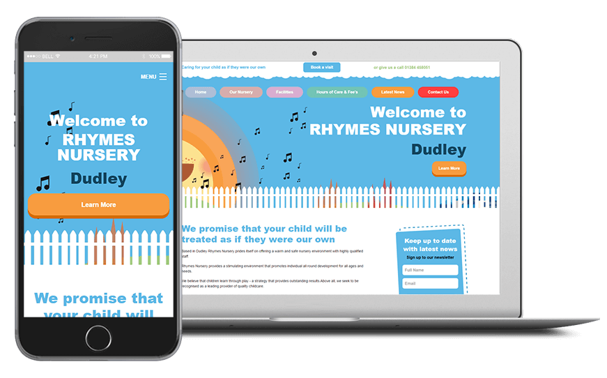 Smartphone and laptop displaying Rhymes Nursery Website, bespoke software by ioSTUDIOS